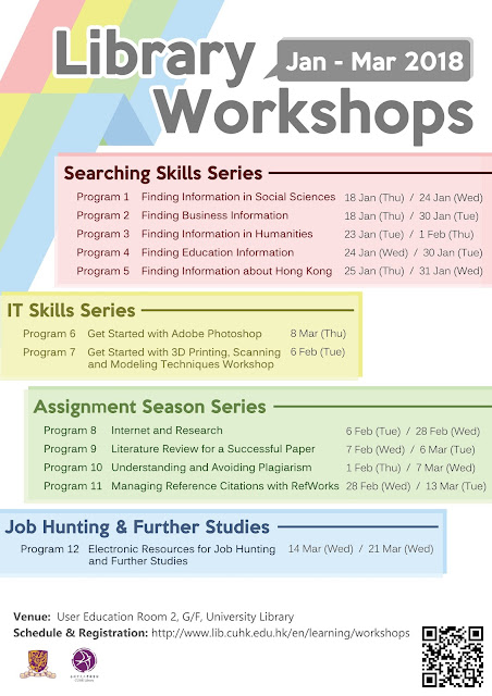 Library Workshops for Undergraduate Students 2018 (Jan – Mar)