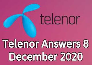 8 December Telenor Quiz | Telenor Answers 8 December 2020