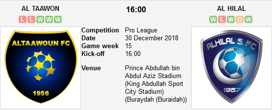 مباراة التعاون و الهلال بث مباشر 30 12 2018 الدوري السعودي