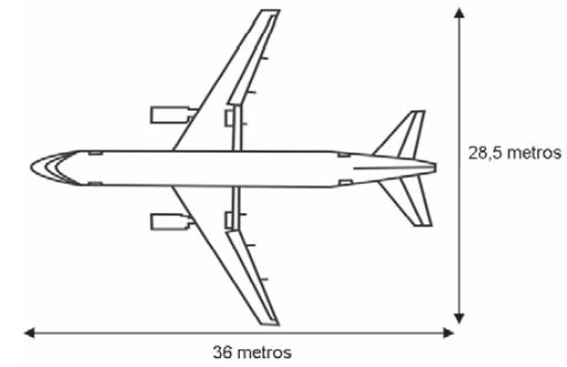 ENEM 2009: A figura a seguir mostra as medidas reais de uma aeronave que será fabricada para utilização por companhias de transporte aéreo. Um engenheiro precisa fazer o desenho desse avião em escala de 1:150.