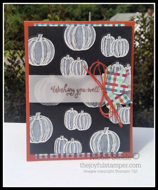 Stampin' Up!'s Gather Together bundle is used to make a white pumpkin card by Nicole Steele The Joyful Stamper