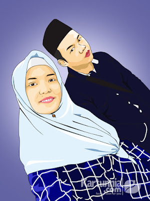 Karikatur Vector Couple Romantis