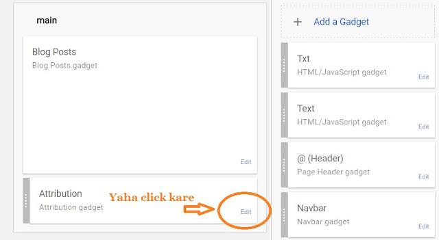 blog ke layout me jaye widget edit par click kare