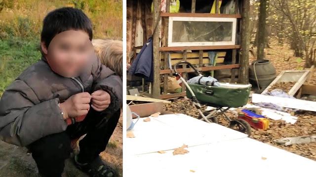В Подмосковье мальчик живет в лесу в самодельной хижине среди бездомных