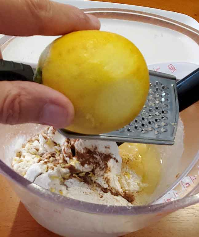 this is lemon loaf and the ingredients in a bowl