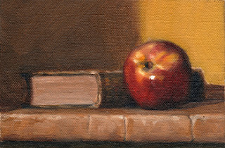 Oil painting of a nectarine beside a green linen-bound book.