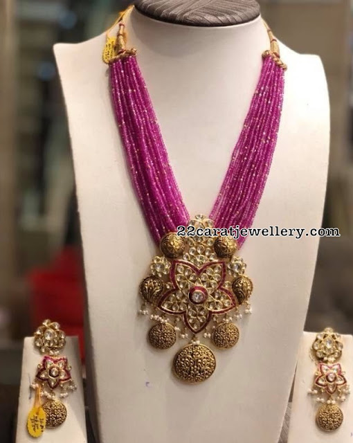 Ruby Beads Set with Kundan Antique Pendant