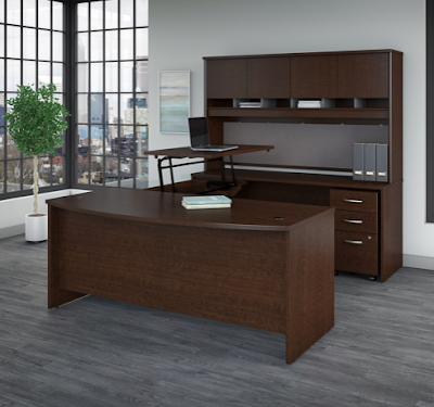 bush ergonomic desk with manual sit stand bridge