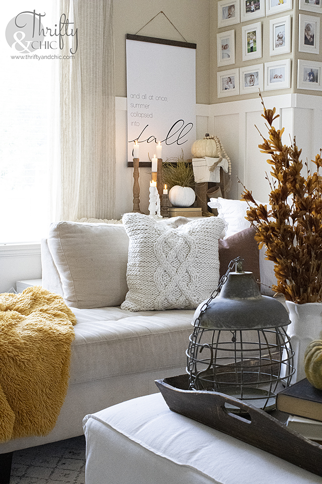 Fall living room decor and decorating ideas. Orange and green fall decor. Fall mantel decor. Neutral fall mantel ideas. Two story living room ideas.