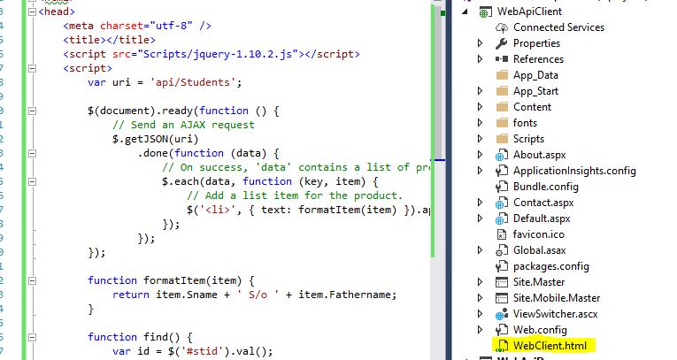 Web API tutorial 16 Calling Asp  NET WEB API service in a