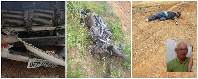 Idoso de 66 anos morre após colisão entre carro e moto no Sertão do Estado