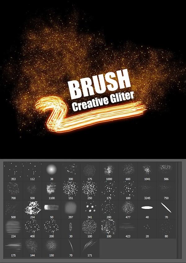 فرشة جليتر لعمل الخلفيات بالفوتوشوب  Brush Glitter Creative