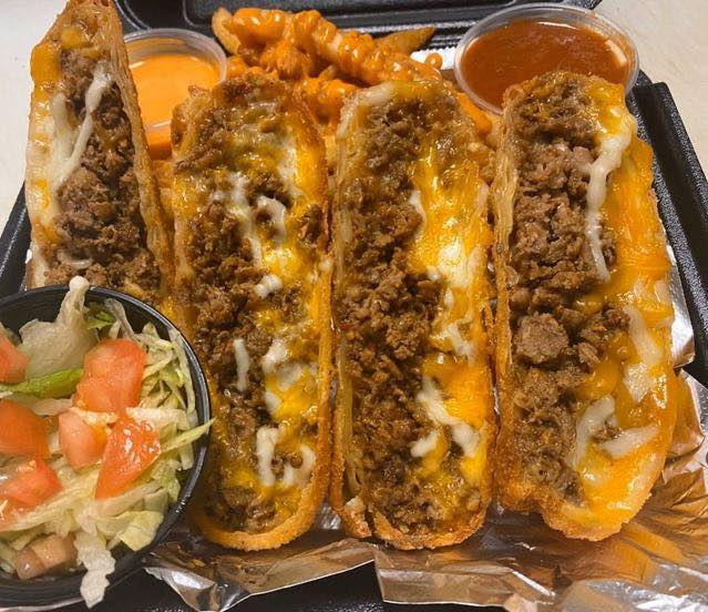cheese steak tacos with buffalo fries