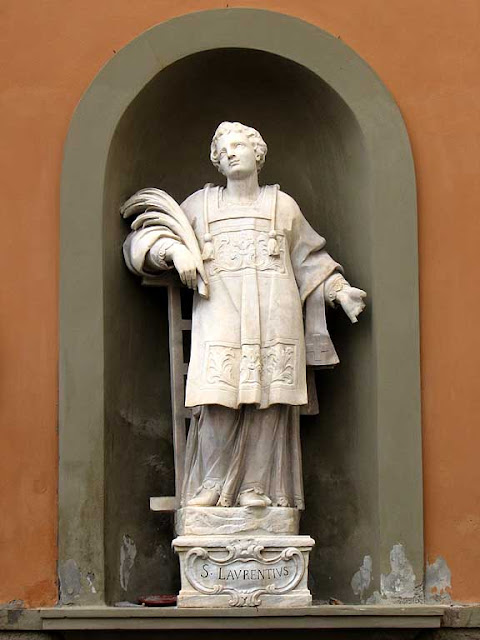 Statue of San Lorenzo, Saint Lawrence, outside the Saint Sebastian church, Livorno