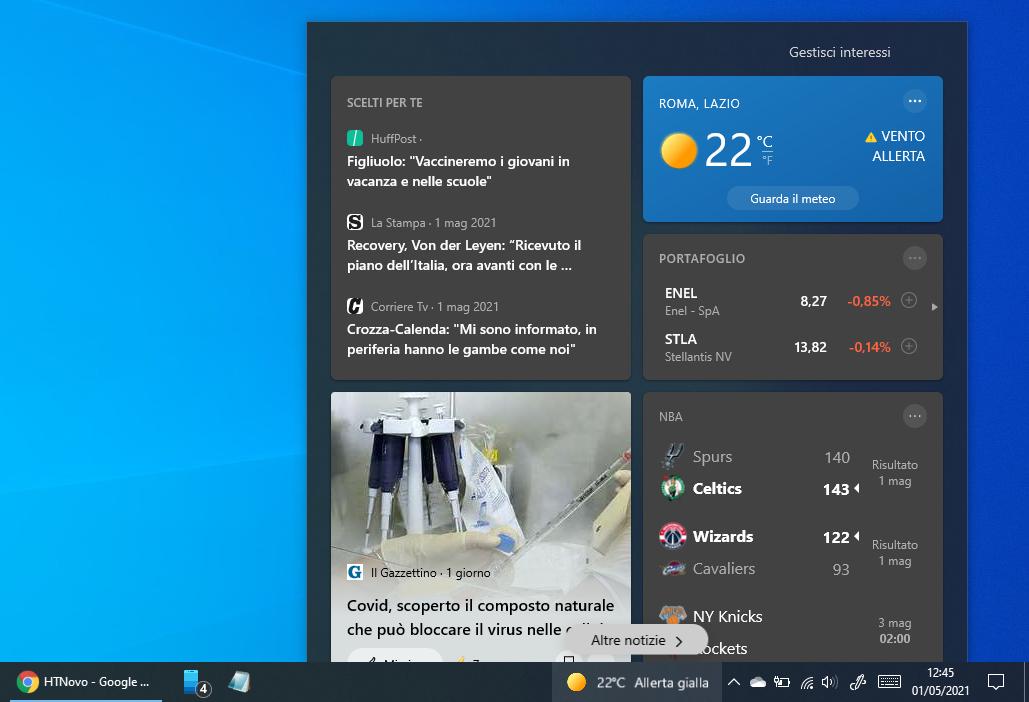 Come togliere il Meteo dalla barra delle applicazioni in Windows 10
