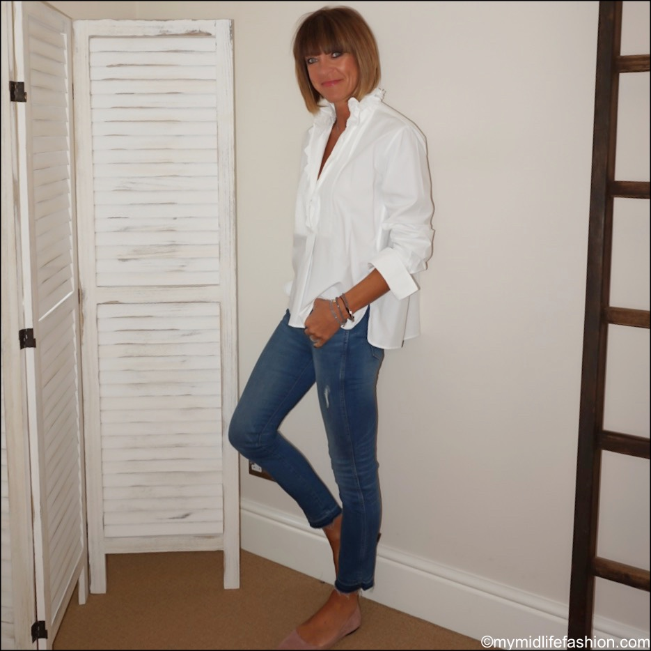 my midlife fashion, Isabel Marant Etoile white ruffle blouse, j crew skinny jeans, h and m suede pointed ballet flats