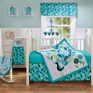 Peacock Blue 3 Piece Baby Crib Bedding Set by Bananafish