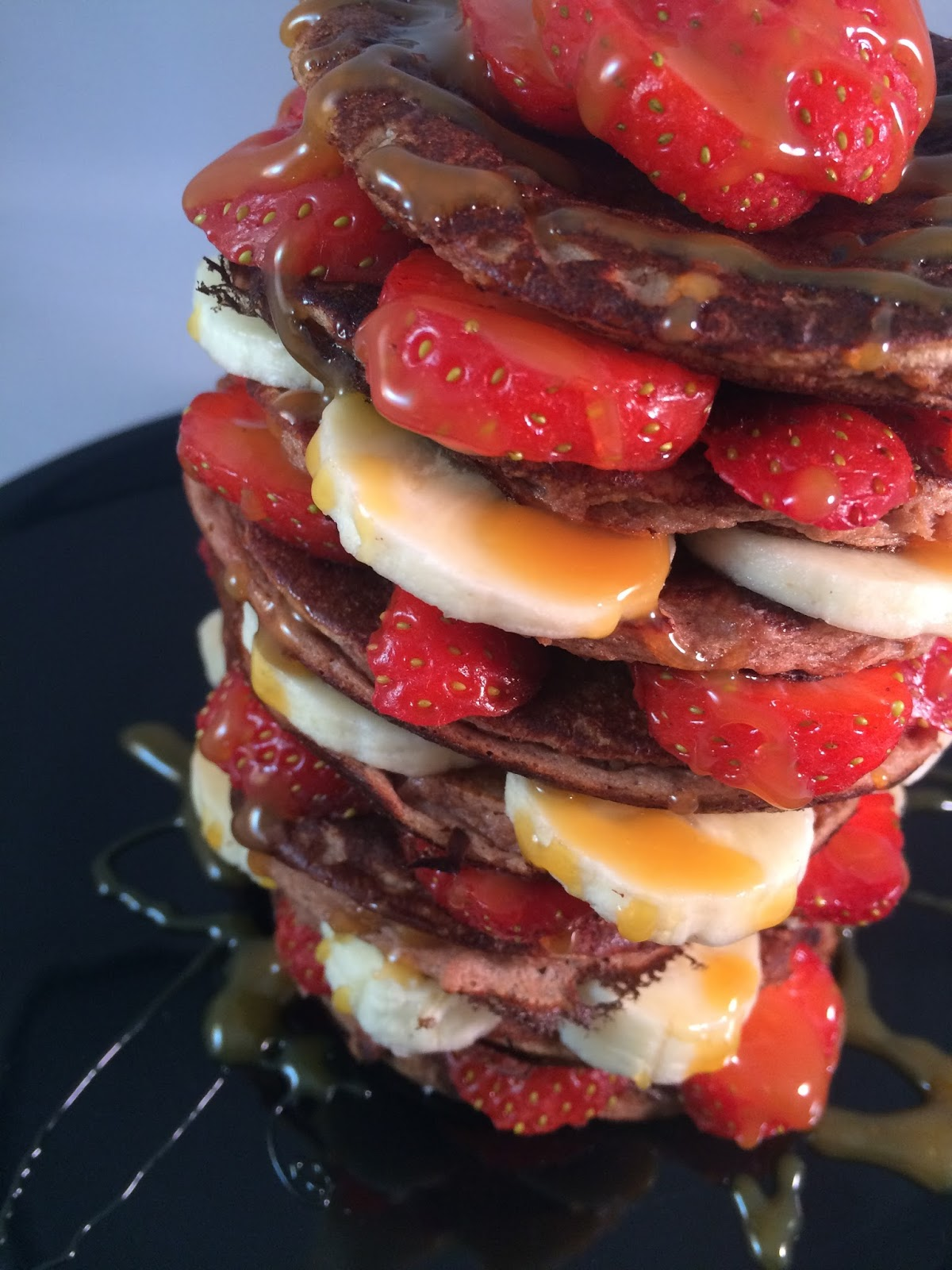 chocolate banana strawberry sci-mx protein pancake stack with toffee sauce recipe