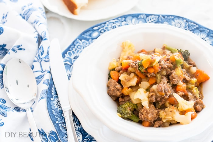 winter stew on blue and white dishes