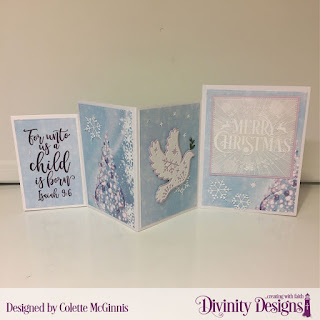 Custom Dies: Four Panel  Card with Layers, Christmas Dove, Pierced Squares, Stamp Set: Keep Christ, Paper Collection: Christmas 2019