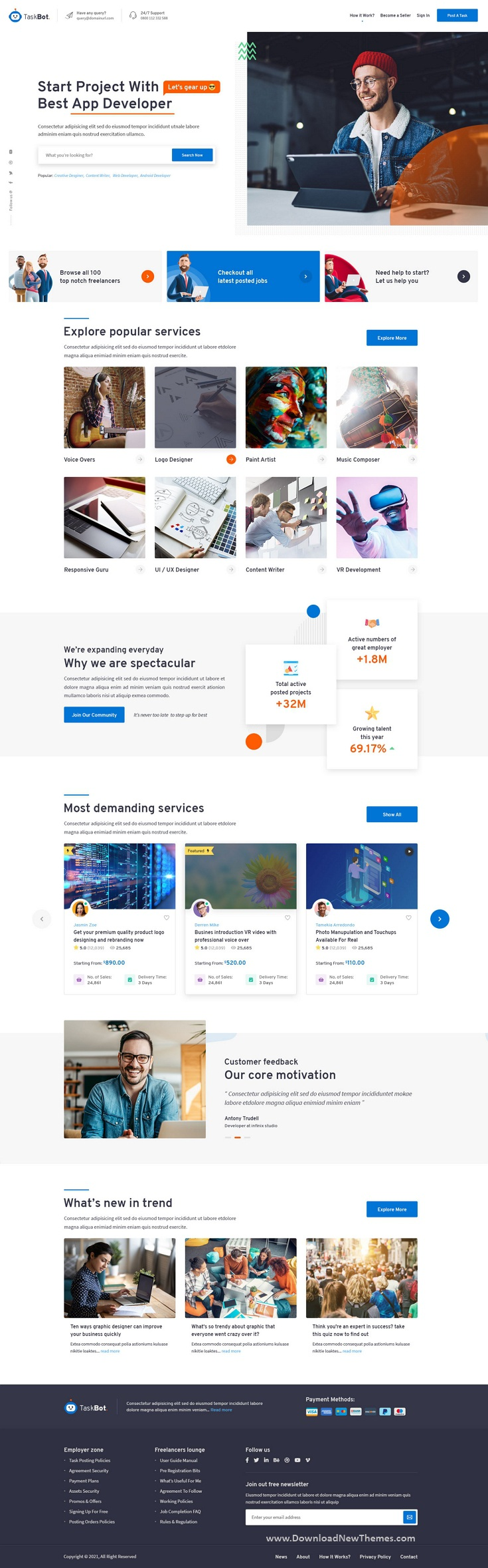 Freelancers and Jobs Market Place Photoshop Template