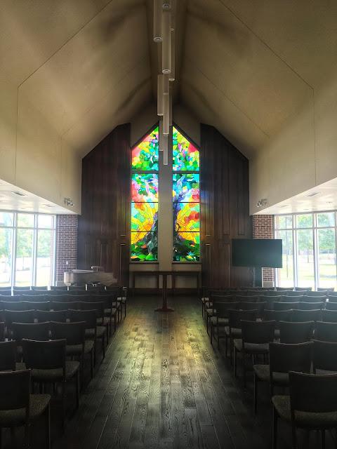 stained glass window in Elliston Chapel