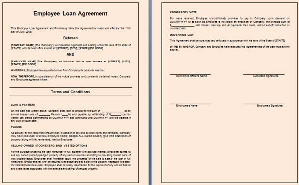 Employee Loan Agreement Template,
