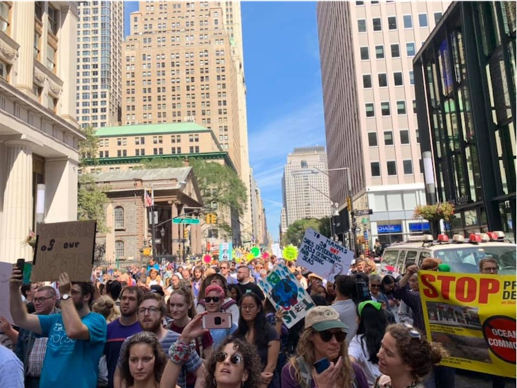 The march makes its way through New York City