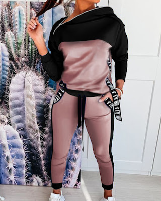Colorblock Zipper Design Hooded Top & Pockets Pants Set