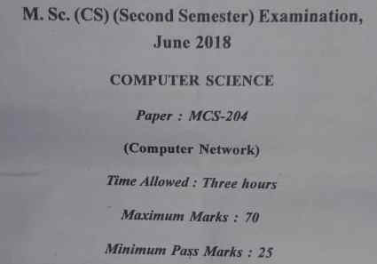 Computer Network paper question paper M.Sc CS APUS, Computer Network paper MCQ PAPER Computer Network paper help you for preparation |