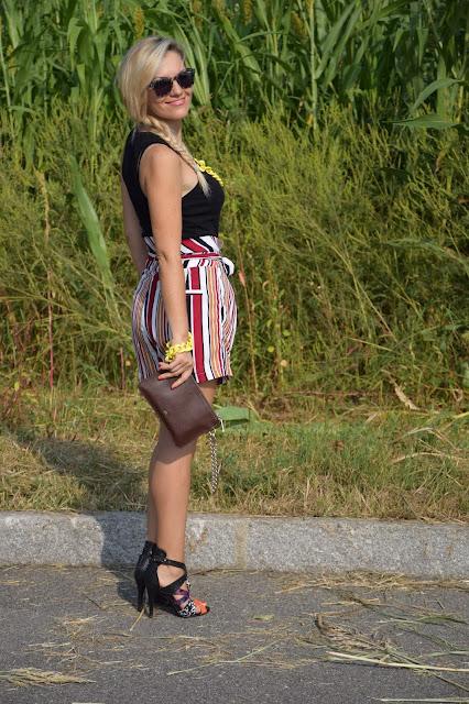 outfit shorts a vita alta come abbinare gli shorts a vita alta abbinamenti shorts a vita alta outfit settembre 2016 outfit estivi mariafelicia magno fashion blogger colorblock by felym fashion blogger milano  web influencer italiane