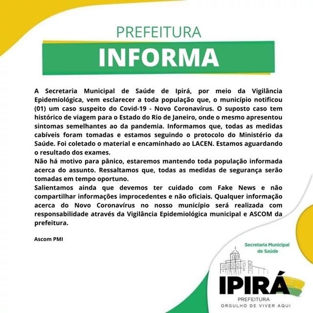 suspeito de coronavírus em Ipirá