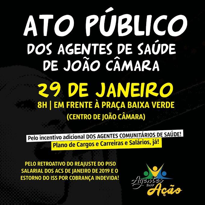Agentes de Saúde de João Câmara promove ato publico na praça Baixa Verde e faz cobranças ao governo municipal
