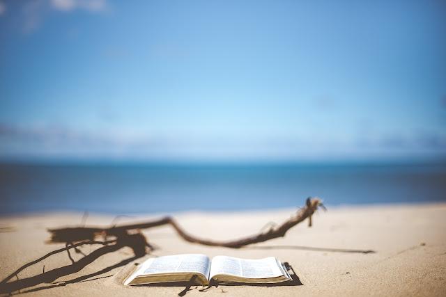A book on a beach