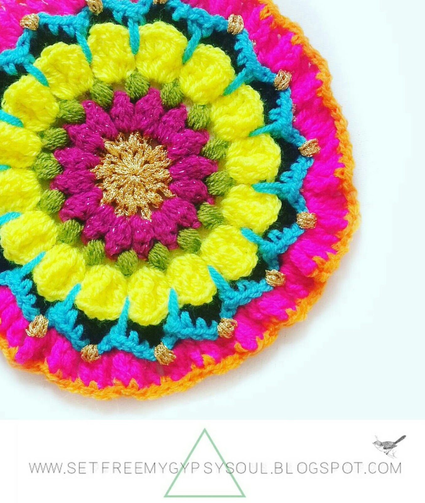 crochet mandala flower pattern free tutorial hippie boho gypsy