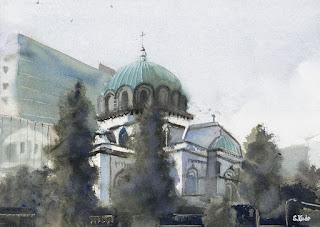 水彩画 ニコライ堂