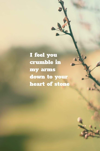 I feel you crumble in my arms down to your heart of stone