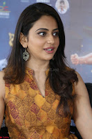 Rakul Preet Singh smiling Beautyin Brown Deep neck Sleeveless Gown at her interview 2.8.17 ~  Exclusive Celebrities Galleries 223.JPG