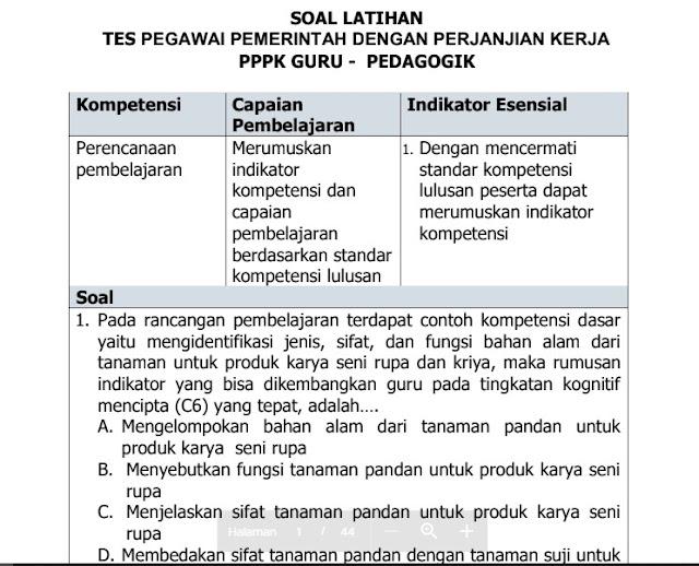 Soal Tes Latihan Seleksi Guru PPPK Pedagogik