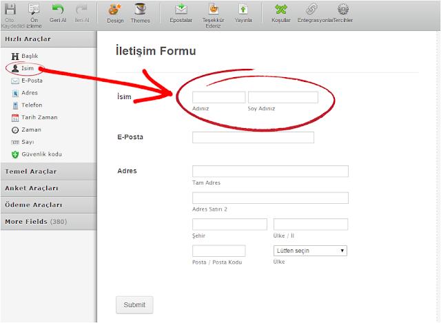 İletişim sayfası için form hazırlama [kodsuz]