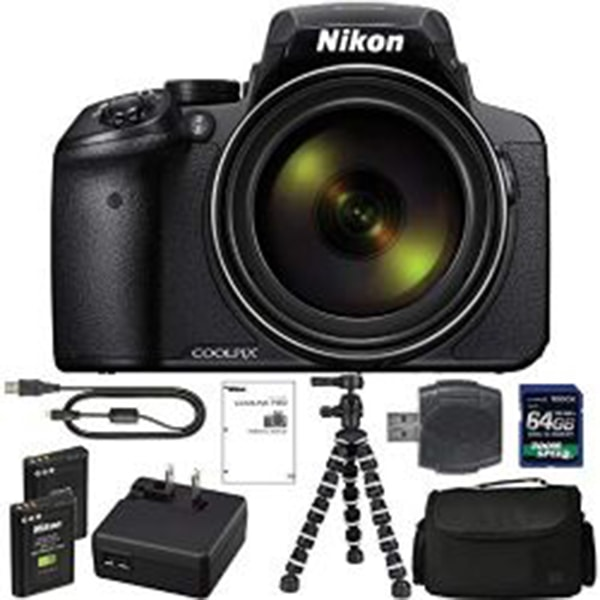 Nikon COOLPIX P900 Digital Camera: with 83x Optical Zoomand Built-in Wi-Fi(Black) + 64GB 1200X SDXC Card + 2 EN-EL23 Batteries + Case +Flexible Tripod + Pro Bundle