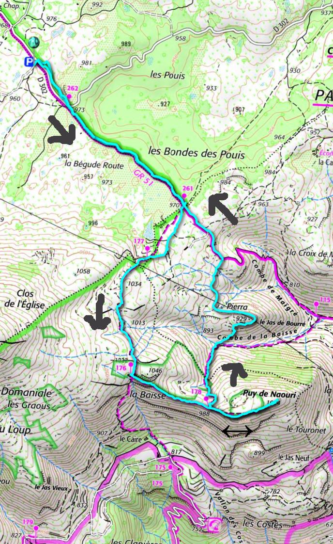 Puy de Naouri hike track