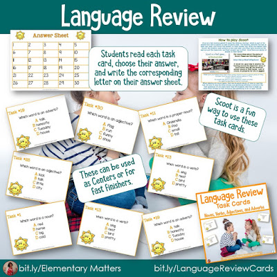 https://www.teacherspayteachers.com/Product/Task-Cards-for-Second-and-Third-Grade-Parts-of-Speech-Language-250927?utm_source=Reviewing%20Blog%20Post&utm_campaign=Language%20Review