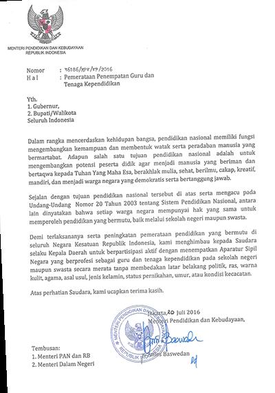 Ini Surat Resmi Mendikbud Yang Memperbolehkan Guru Pns Di
