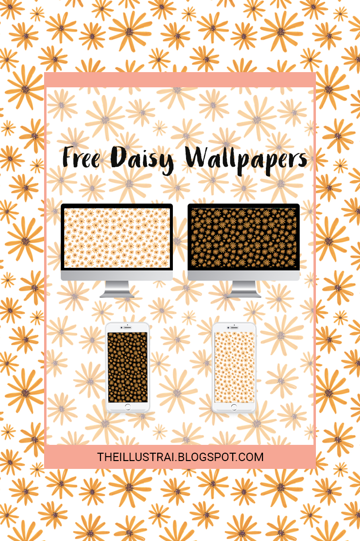 Download the Daisy pattern phone and desktop wallpapers with both black and white backgrounds