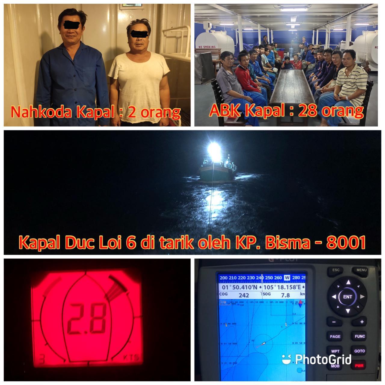Dua Kapal Ikan Bendera Vietnam Diamankan KP Bisma 8001 Korpolairud Baharkam Polri
