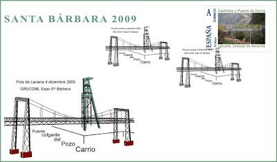Sobre con matasellos del Puente y el castillete de Carrio, Grucomi, Laviana 2009