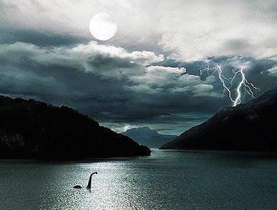 Amazing Loch Ness landscape with Nessie
