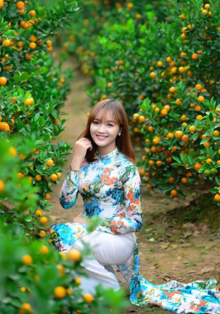Beautyful girl and kumquat in Tu Lien