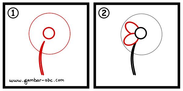 Cara Menggambar Bunga Sederhana dan Mudah